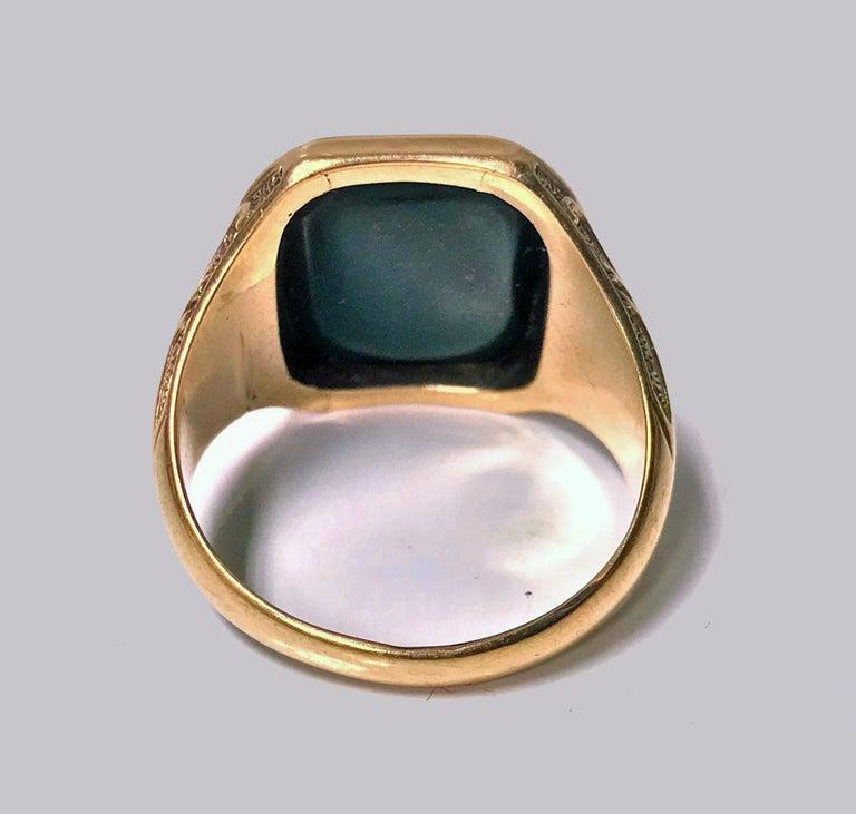 19th Century Antique 18-Karat Bloodstone Signet Ring, circa 1880 For Sale