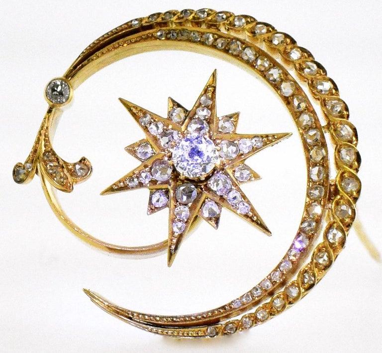 Victorian Antique 18 Karat En Tremblant Diamond New Moon and Star Brooch, circa 1850 For Sale