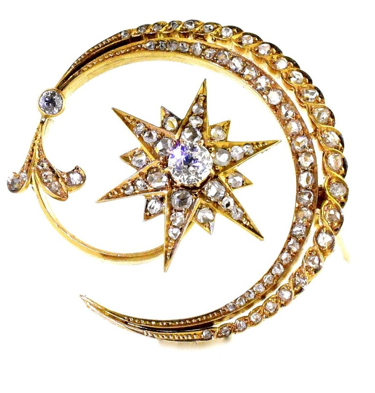 Antique 18 Karat En Tremblant Diamond New Moon and Star Brooch, circa 1850 In Good Condition For Sale In Aspen, CO