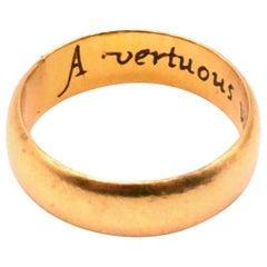Antique 18 Karat Engraved Poesy Ring, circa 1612