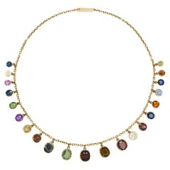Antique 18K Gold and Multi-Colored Gemset Necklace, Circa 1880