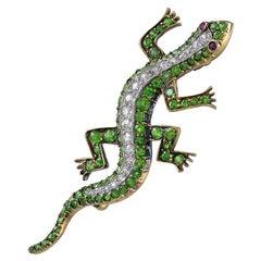 Antique 18 Karat Gold, Diamond, Green Garnet and Ruby Set Salamander Brooch