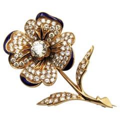 Antique 18k Gold Enamel Diamond Brooch