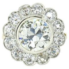 Antique 18k Gold Platinum 3.01ct Bezel GIA European Diamond Flower Cluster Ring