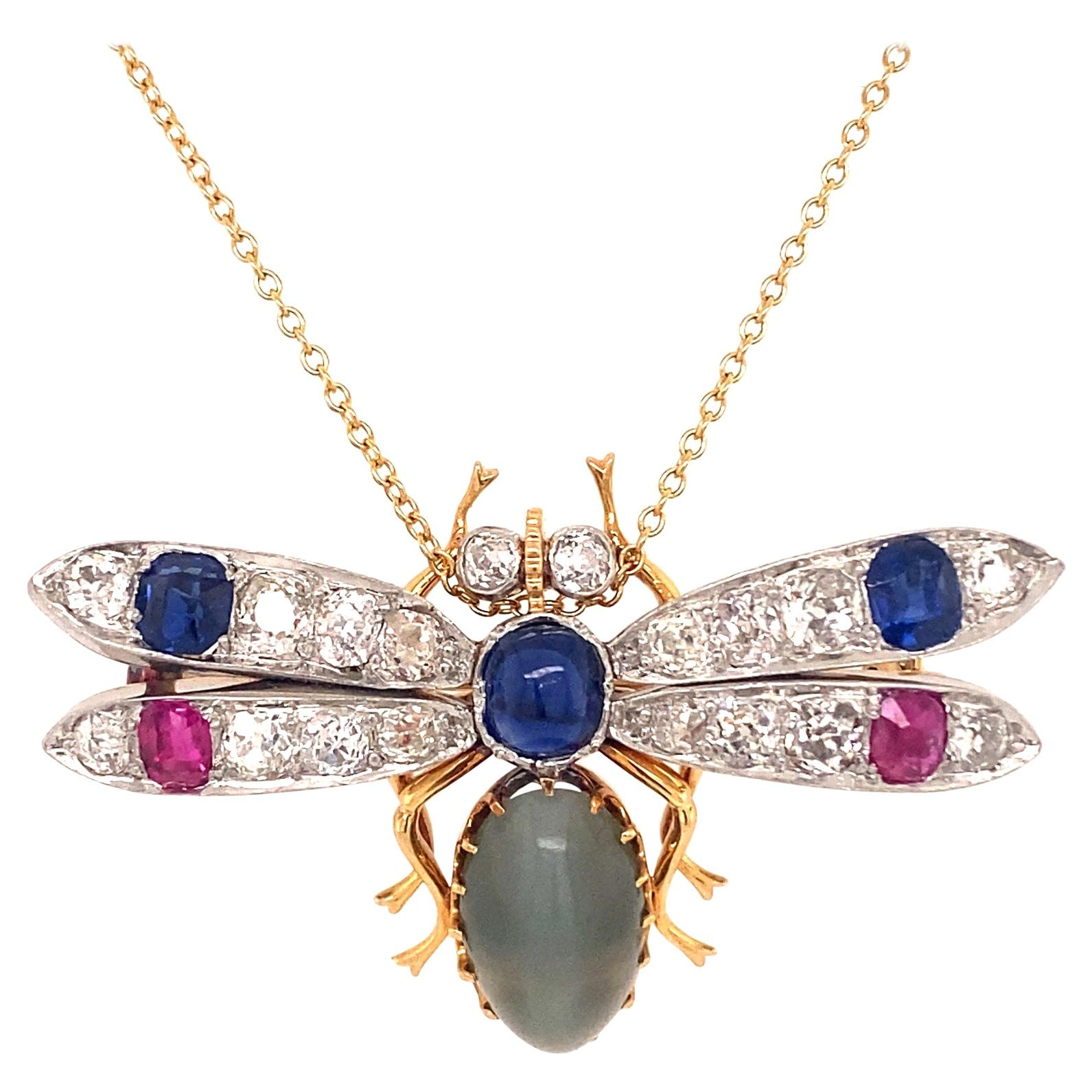 Antique 18K Gold Platinum Gem Cats Eye Diamonds Rubies Sapphires Insect Brooch