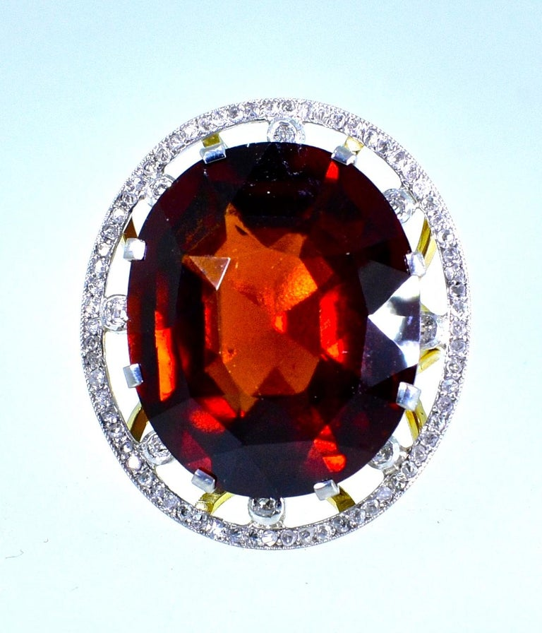 Antique 18 Karat, Platinum, Diamond and Orange Garnet Ring, circa 1900 In Excellent Condition For Sale In Aspen, CO