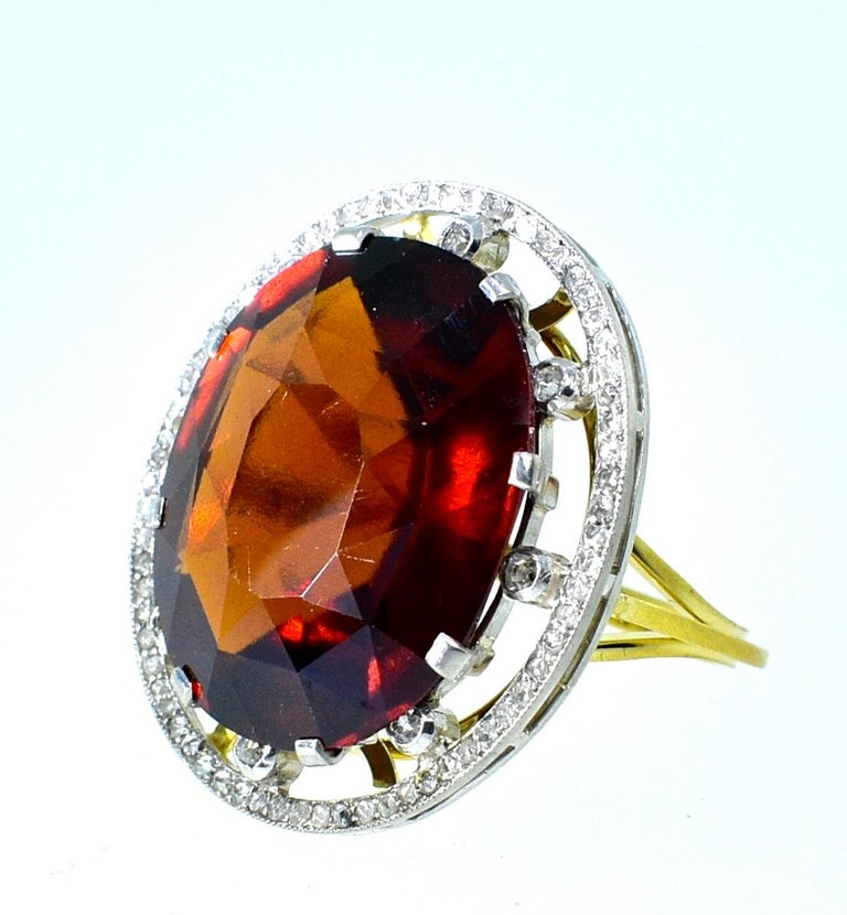 Women's or Men's Antique 18 Karat, Platinum, Diamond and Orange Garnet Ring, circa 1900 For Sale