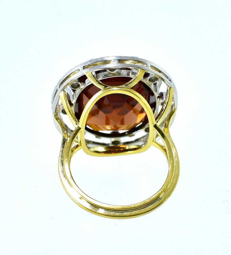 Antique 18 Karat, Platinum, Diamond and Orange Garnet Ring, circa 1900 For Sale 1