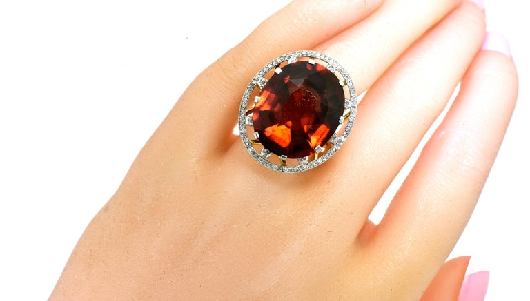 Antique 18 Karat, Platinum, Diamond and Orange Garnet Ring, circa 1900 For Sale 3