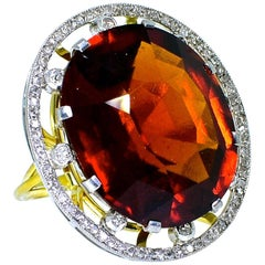 Antique 18 Karat, Platinum, Diamond and Orange Garnet Ring, circa 1900