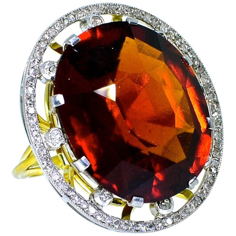 Antique 18 Karat, Platinum, Diamond and Orange Garnet Ring, circa 1900 For Sale