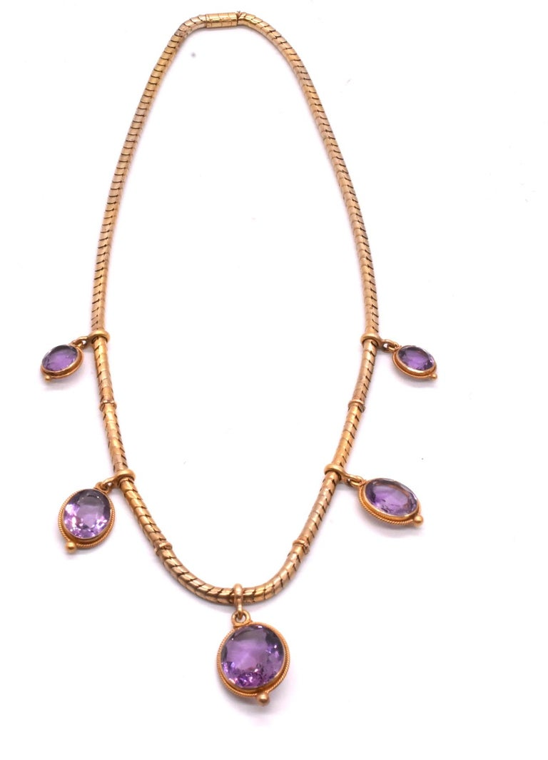 Women's Antique 18 Karat Snake Chain Necklace with Amethyst Drops For Sale