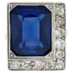 Antique 18K TT Gold Bezel Blue Stone 1.1ctw Old Mine Cut Diamond Platter Ring