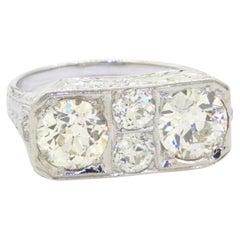 Antique 18k White Gold 2.57ct VS Diamond Filigree Ring 0.93ct and 1.04ct Centers