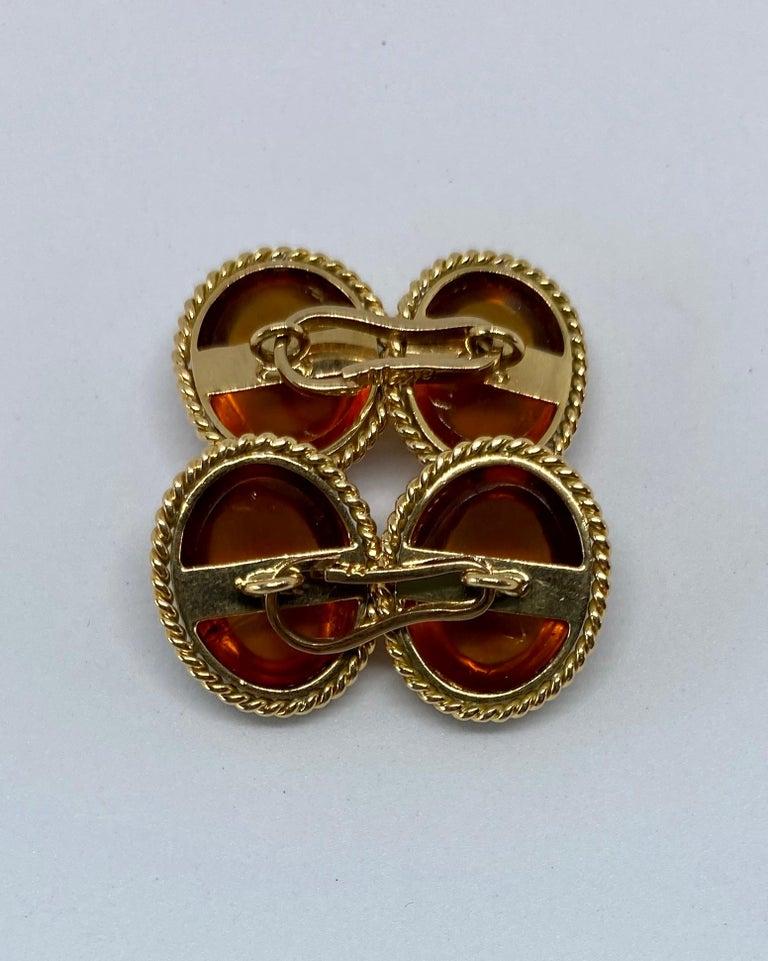 Art Deco Antique 18 Karat Yellow Gold and Amber Cufflinks For Sale