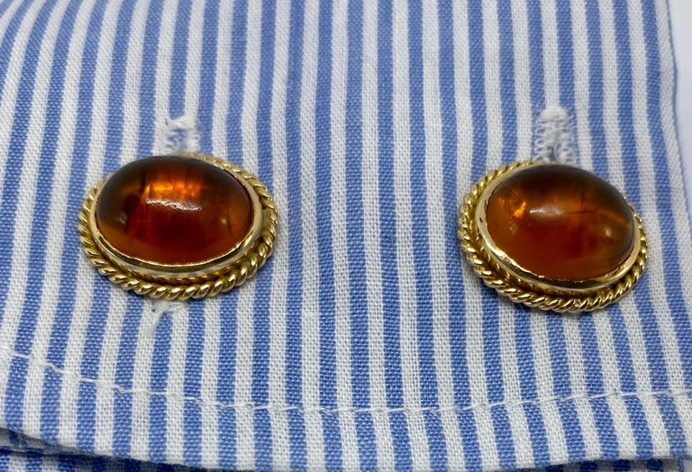 Antique 18 Karat Yellow Gold and Amber Cufflinks In Good Condition For Sale In San Rafael, CA
