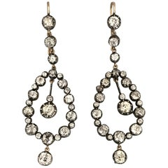 Antique 18 Karat Yellow Gold and Silver Diamond Chandelier Earrings, 11.00 Carat