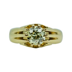 Antique 18k Yellow Gold Old Mine Cut 1.2 Carat Solitaire Engagement Ring