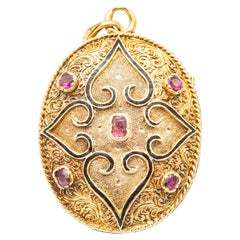 Antique 18K Yellow Gold Photo Holder Pendant with Rubies and Fine Pearls