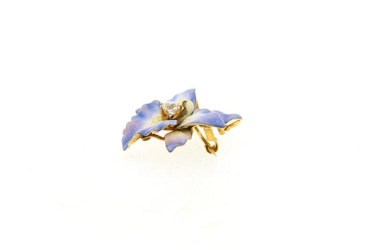 Old Mine Cut Antique 18 Karat Yellow Gold Purple Enamel Diamond Orchid Brooch For Sale