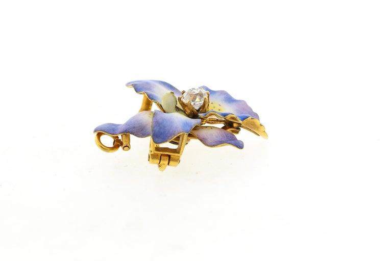 Women's or Men's Antique 18 Karat Yellow Gold Purple Enamel Diamond Orchid Brooch For Sale
