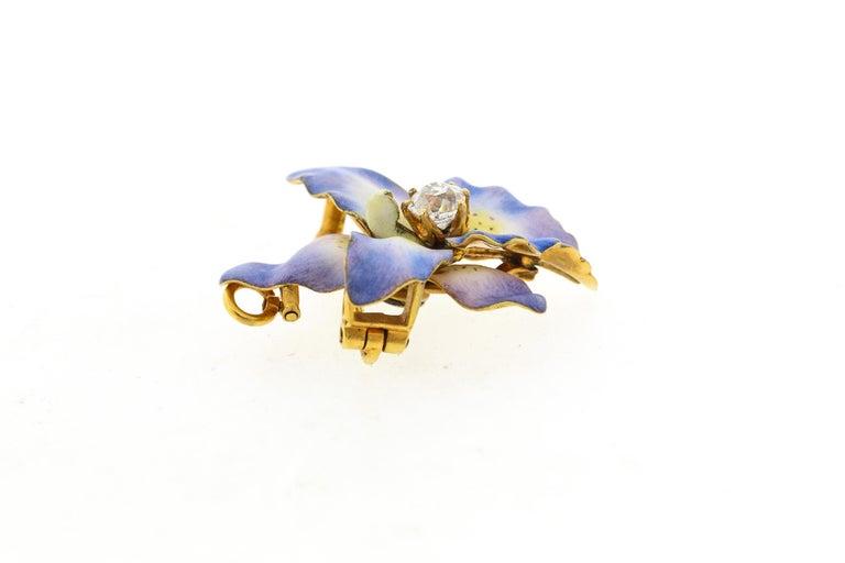 Antique 18 Karat Yellow Gold Purple Enamel Diamond Orchid Brooch For Sale 1