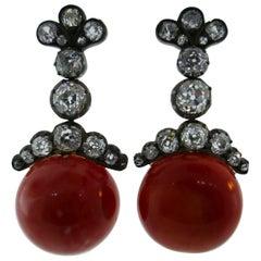 Antique 18k Yellow Gold, Silver, Cushion & Rose Cut Diamond & Coral Earrings