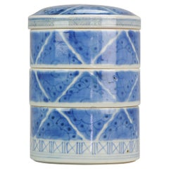 Antique 18th-19th Century Food Container Japanese Porcelain Stacking Box, Japan
