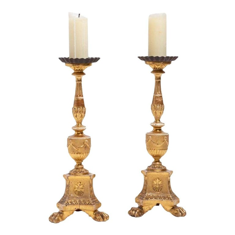 Antique 18th Century Continental Neoclassical Giltwood Pricket Candlesticks In Good Condition In LOS ANGELES, CA