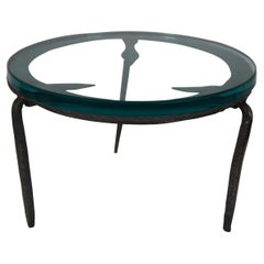 Antique 18th C Forged Iron Round Fireplace Trivet Glass Top Plant Stand Table 14