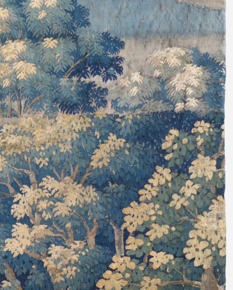 Hand-Woven Antique 18th Century French Aubusson Landscape Tapestry with Palm Trees For Sale