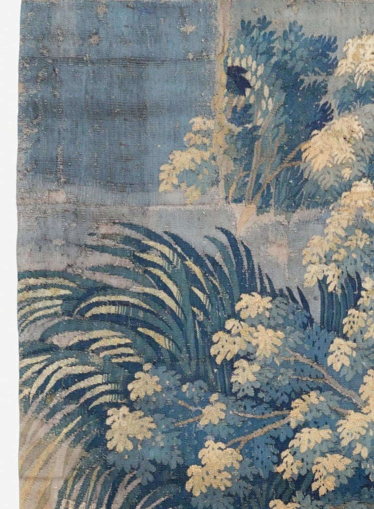Antique 18th Century French Aubusson Landscape Tapestry with Palm Trees In Good Condition For Sale In New York, NY
