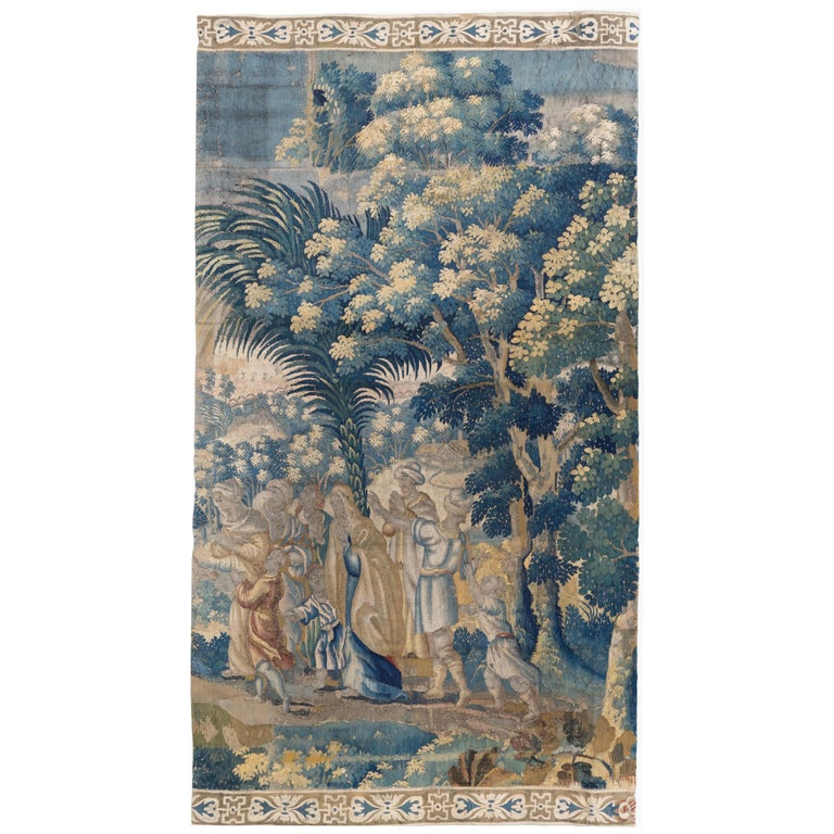 Antique 18th Century French Aubusson Landscape Tapestry with Palm Trees For Sale