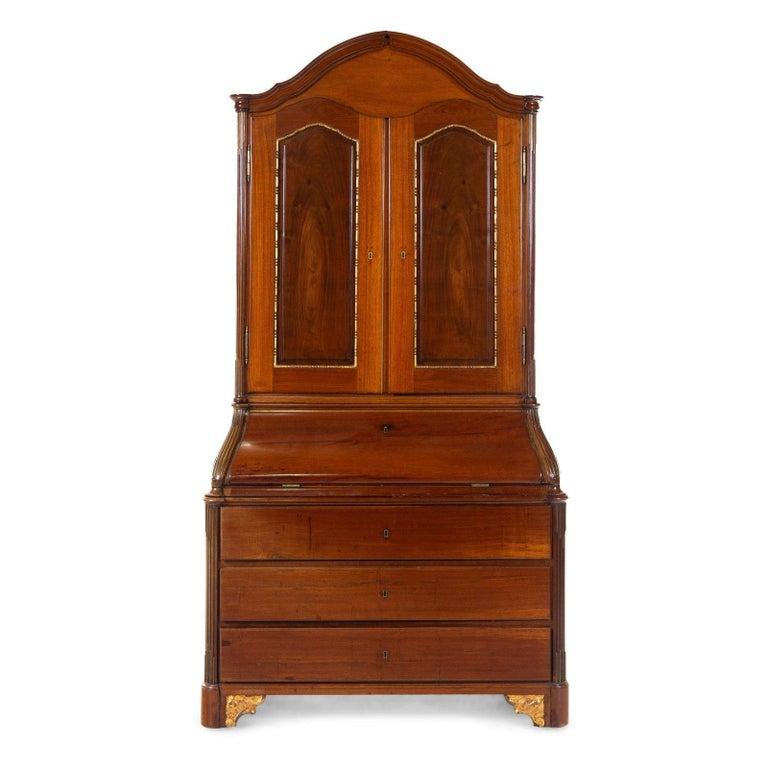Baltic Antique 18th Century Neoclassical Parcel-Gilt Walnut Secretary Bookcase, Therien For Sale