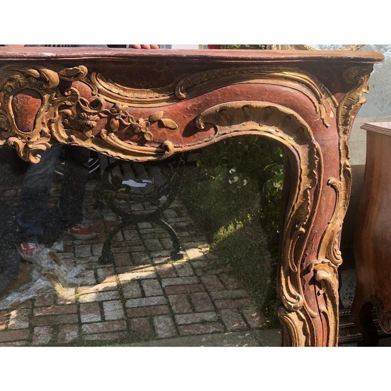 Rococo Antique 18th Century Venetian Style Red Giltwood Over Mantel Mirror For Sale