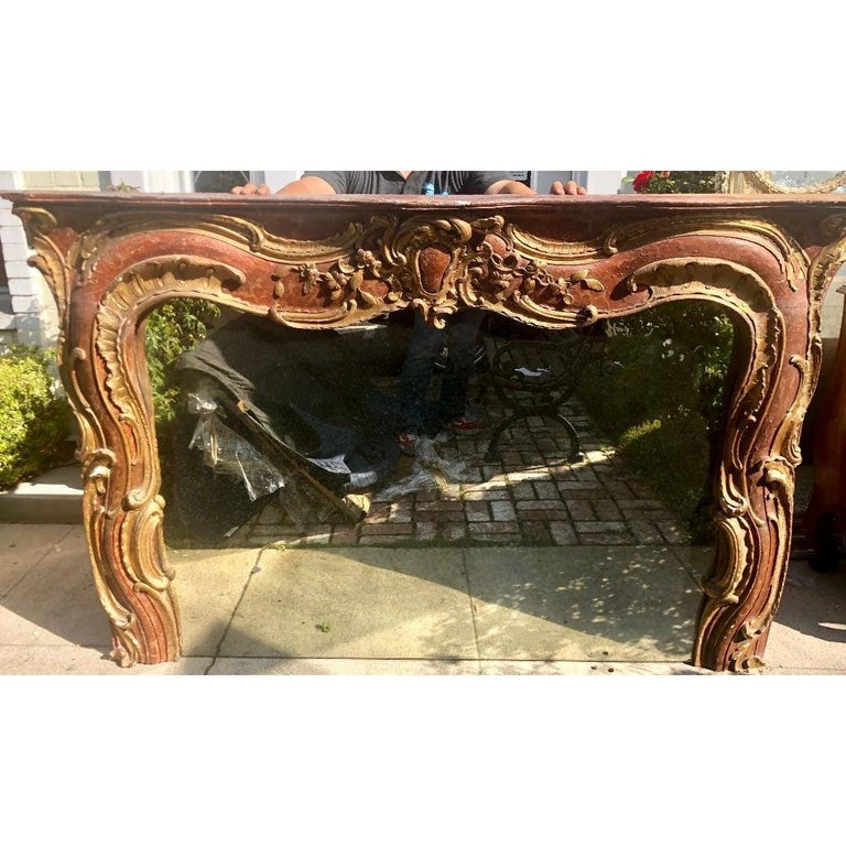 Italian Antique 18th Century Venetian Style Red Giltwood Over Mantel Mirror For Sale