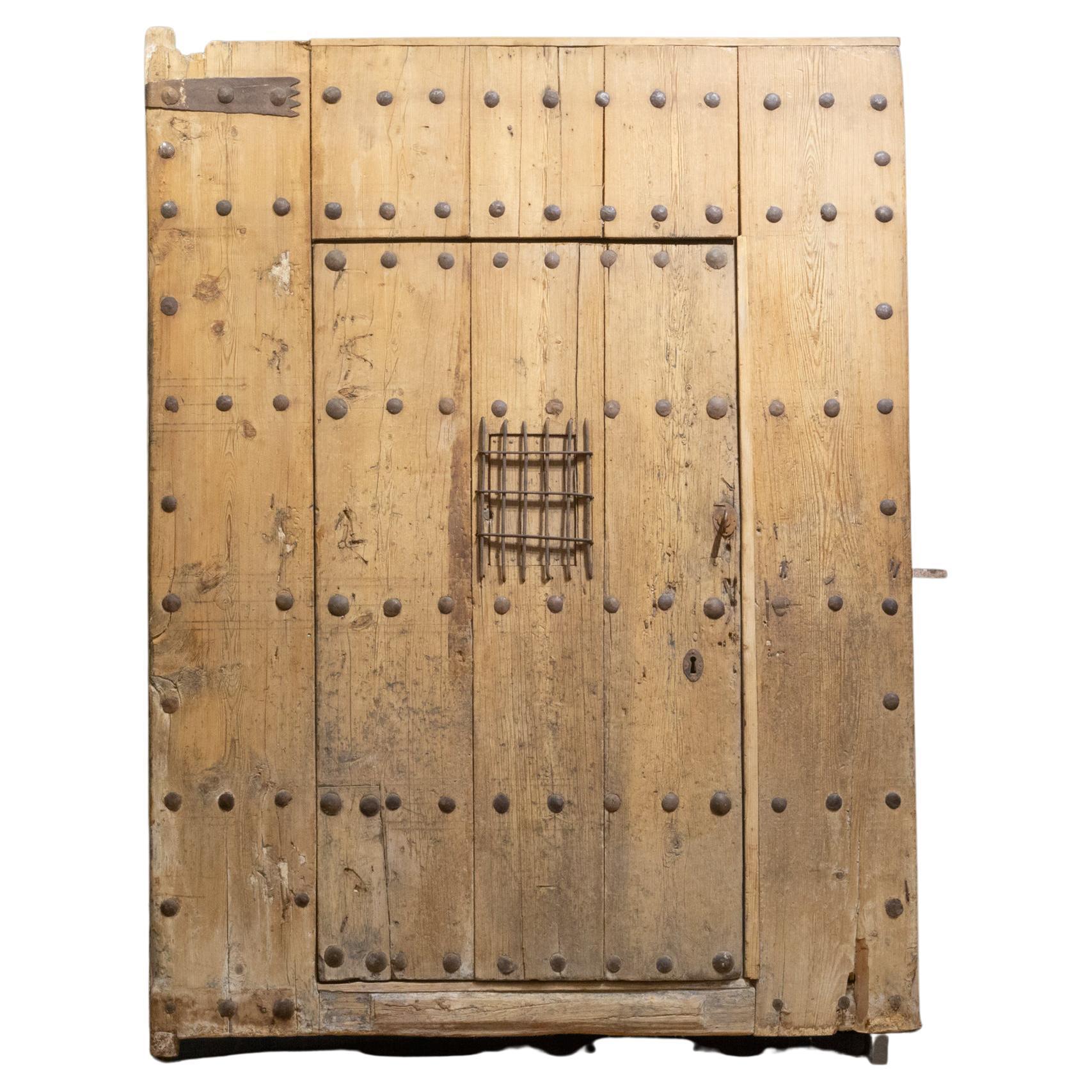 Antique 18th c. Wood and Iron Spanish Porch Door with Interior Door, c.1700s