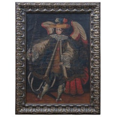 Antique 18th Century Angel Arcabucero Spanish Colonial Oil Painting Cuzco School