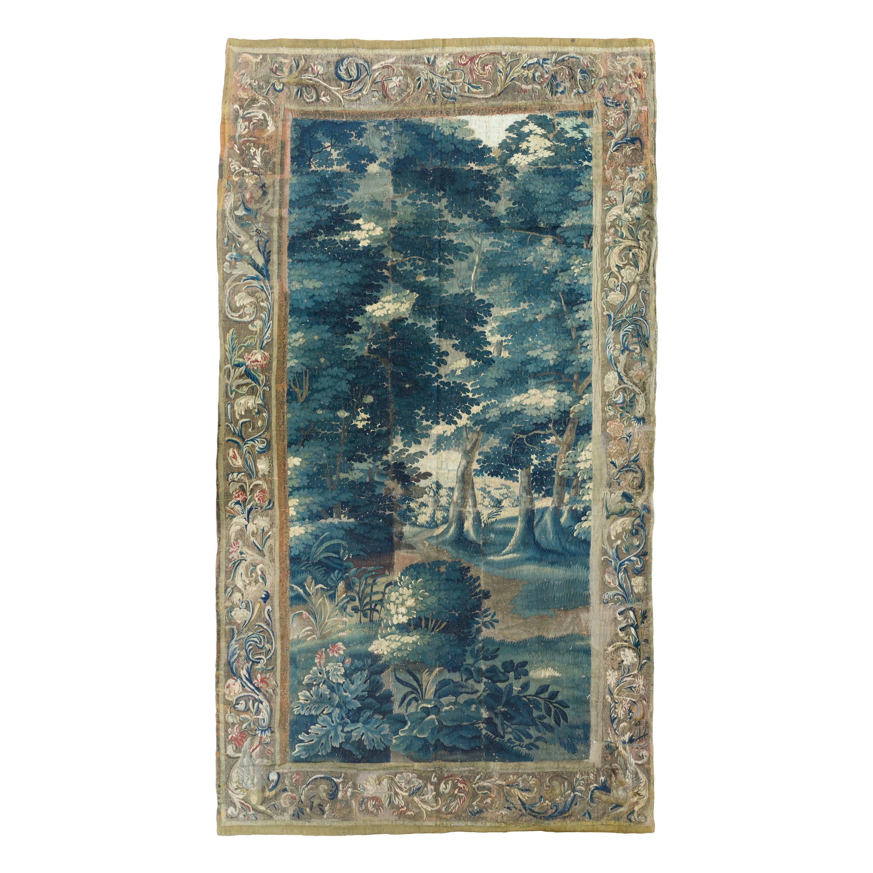 Antique 18th Century Baroque Flemish Verdure Landscape Tapestry