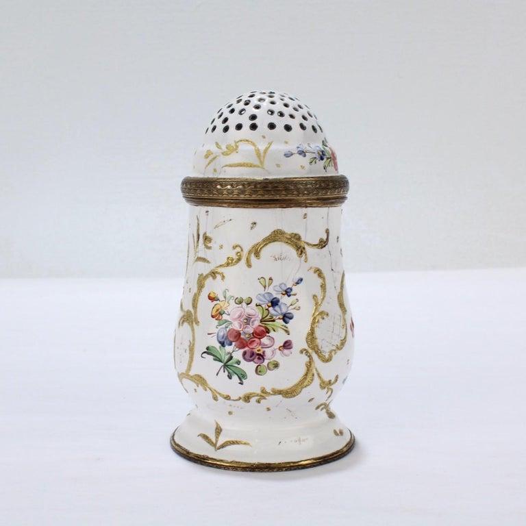 George II Antique 18th Century Bilston Battersea Enamel Muffineer or Sugar Shaker For Sale