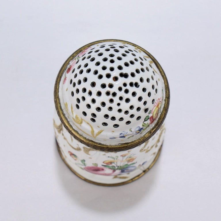 18th Century and Earlier Antique 18th Century Bilston Battersea Enamel Muffineer or Sugar Shaker For Sale