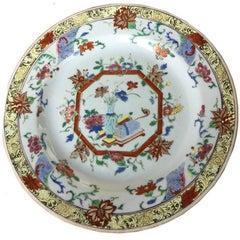 Antique 18th Century Chinese Fencai porcelain plate