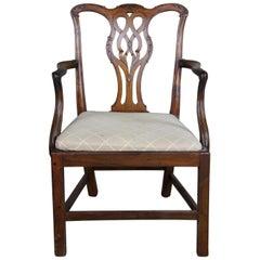 Antique 18th Century Chippendale Mahogany Pierced Pretzel Back Dining Arm Chair