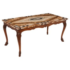 Antique 18th Century Coffee Table with Onyx and Porphyry Top