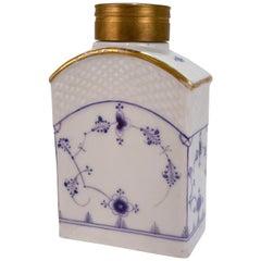 Antique 18th Century Copenhagen Porcelain Blue Fluted Full Lace Tea Caddy