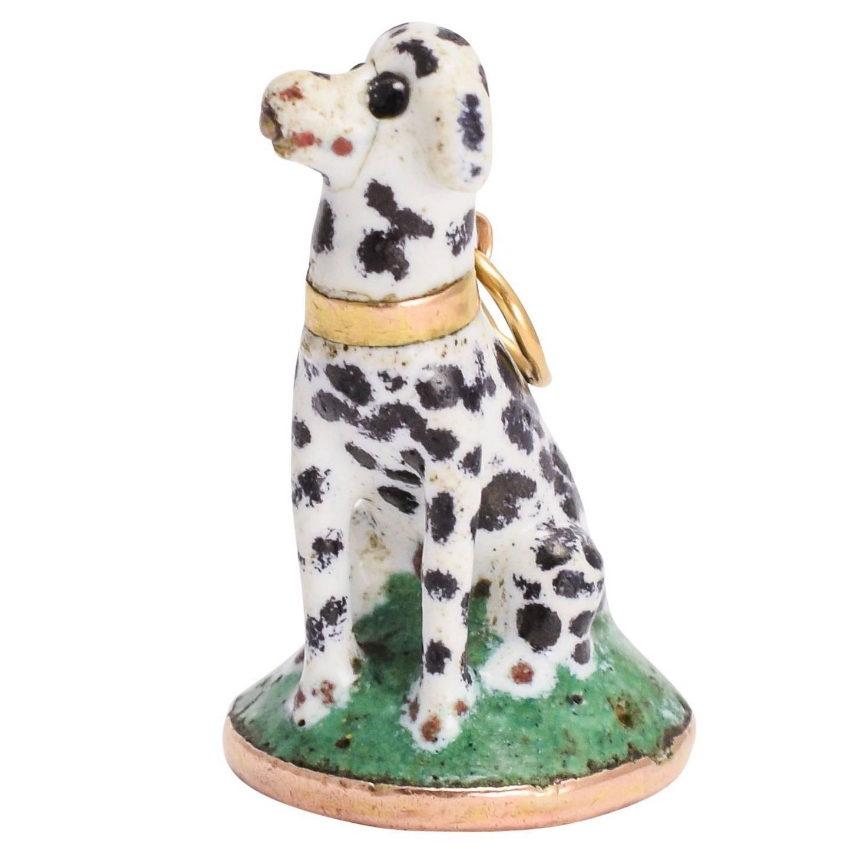 """Antique 18th Century """"Dalmatian"""" Chelsea / St James Porcelain Seal Fob Pendant"""