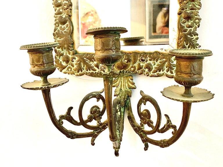 Antique 18th Century Double Eagle Wall Mirrors Candle Sconces Repoussé Brass For Sale 5