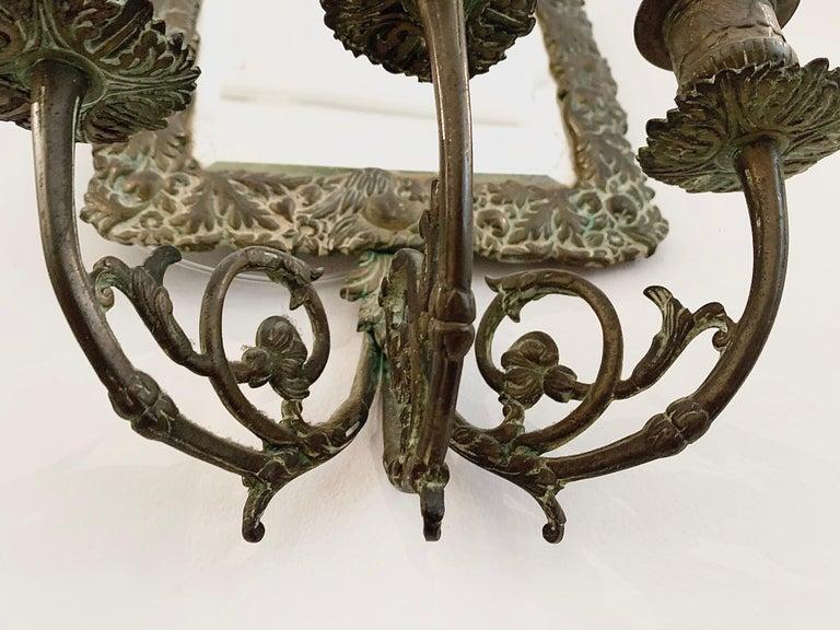 Antique 18th Century Double Eagle Wall Mirrors Candle Sconces Repoussé Brass For Sale 6