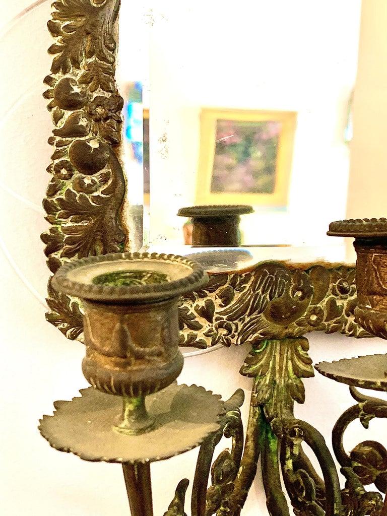 Antique 18th Century Double Eagle Wall Mirrors Candle Sconces Repoussé Brass For Sale 7