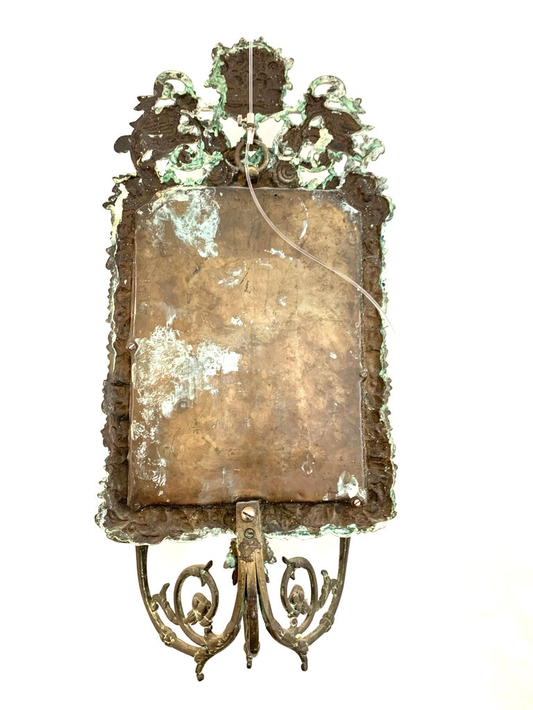 Antique 18th Century Double Eagle Wall Mirrors Candle Sconces Repoussé Brass For Sale 8